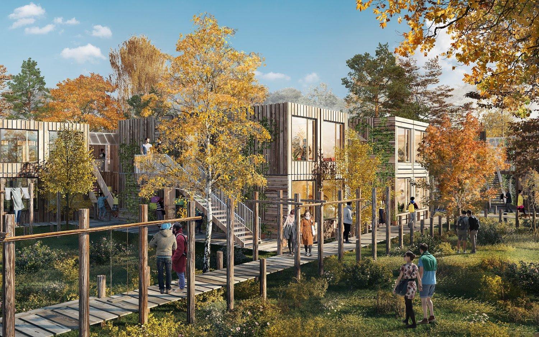 Nye studieboliger i København skal bygges i træ og kunne genbruges til andre byggeprojekter. Foto: CPH Village